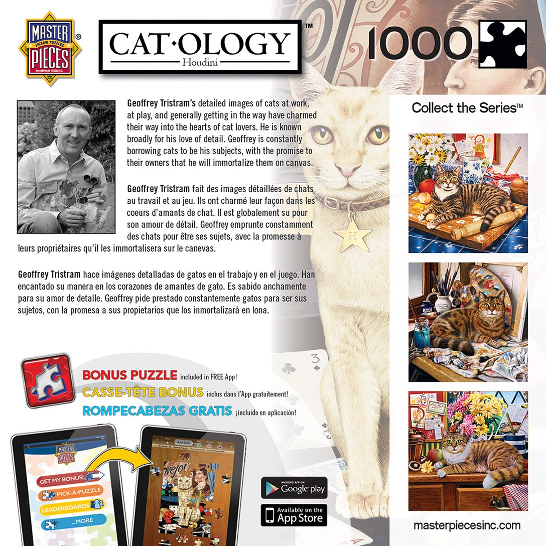 Amazon.com: MasterPieces Cat-O-Logy Houdini Jigsaw Puzzle, Art by Geoffrey Tristram, 1000-Piece: Masterpieces Puzzle Co: Toys & Games