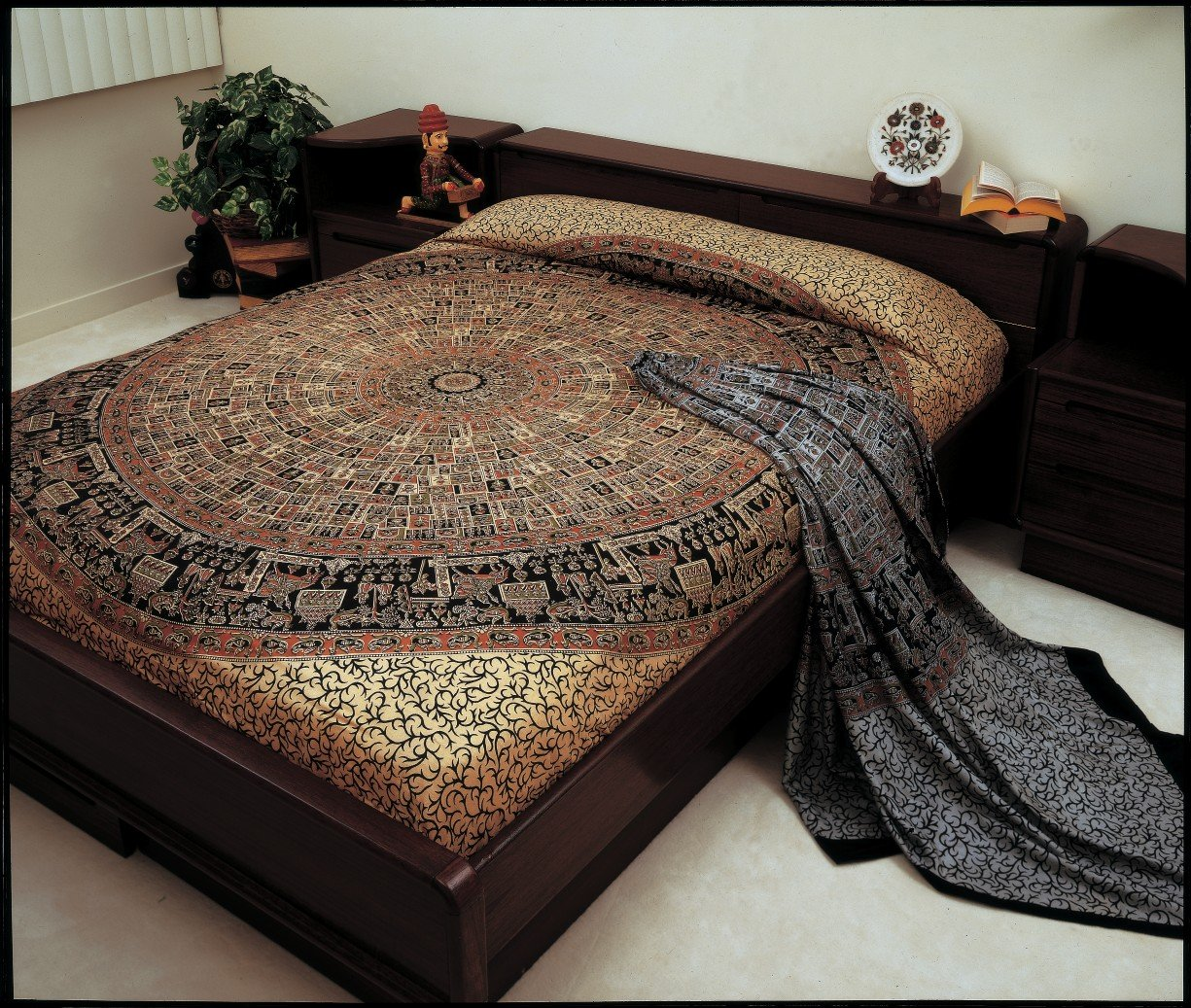 Bagroo Print Indian Bedspread, Double Size