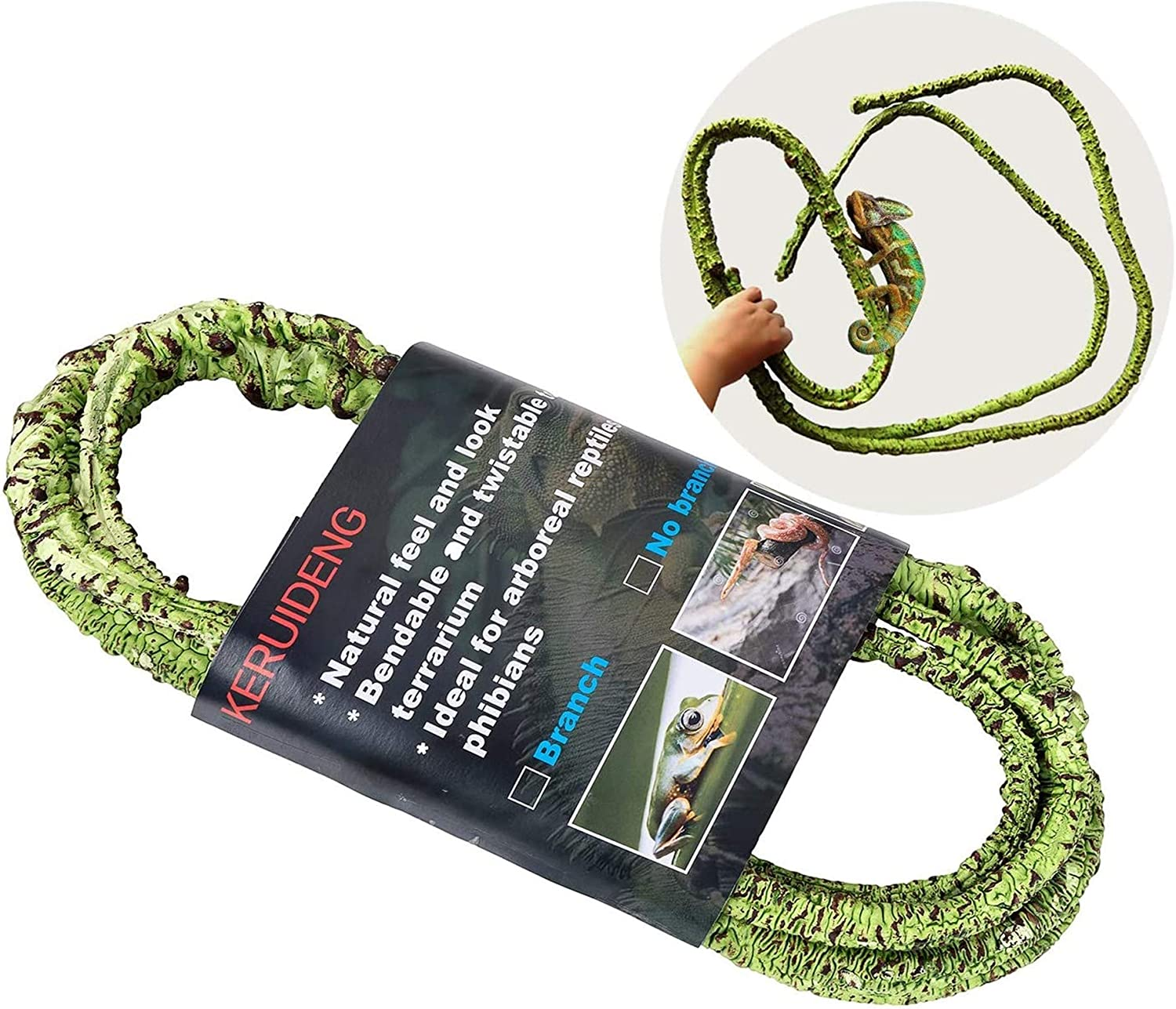 KERUIDENG Branched Reptile Vines Decor, Jungle Climber Long Vines Habitat Decor for Chameleon Climbing Lizards Snakes and More Reptiles