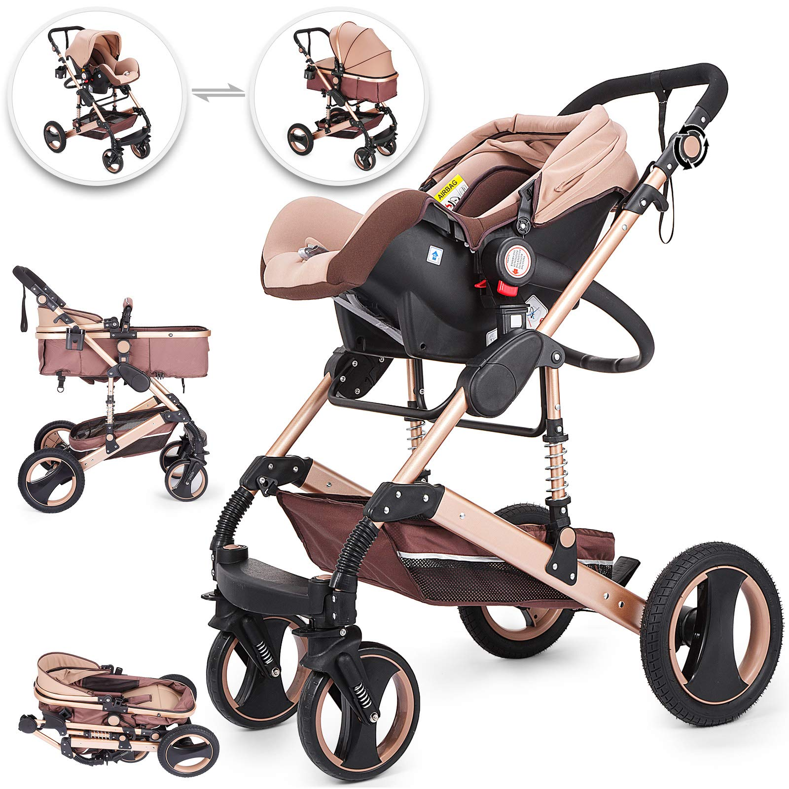 Happybuy 3 in 1 Stroller Khaki Foldable Luxury Baby Stroller Anti-Shock Springs High View Pram Baby Stroller 3 in 1 with Baby Basket(No Base) by Happybuy