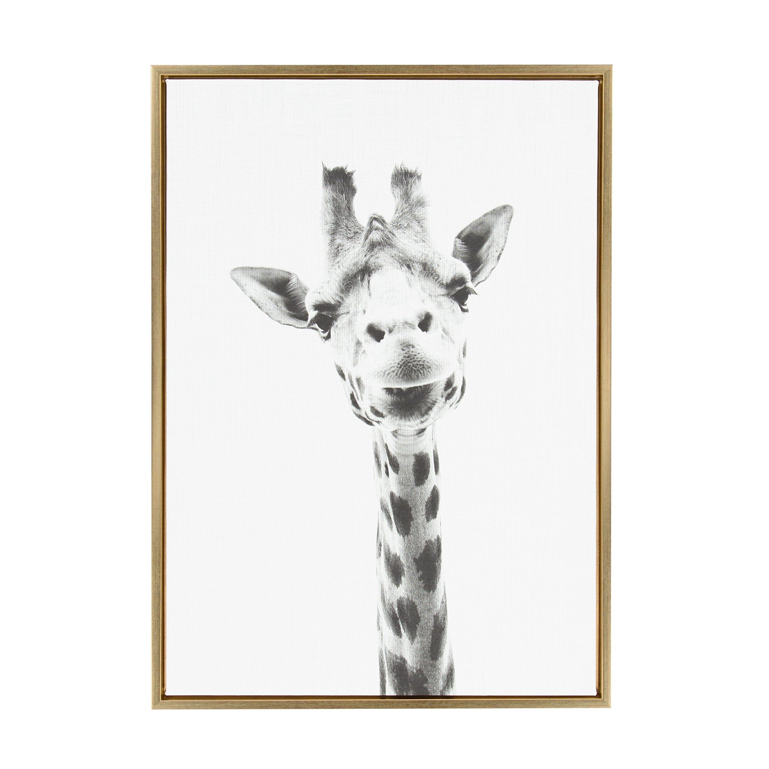 Kate and Laurel - Sylvie Giraffe Animal Print Black and White Portrait Framed Canvas Wall Art by Simon Te Tai, Gold 23 x 33