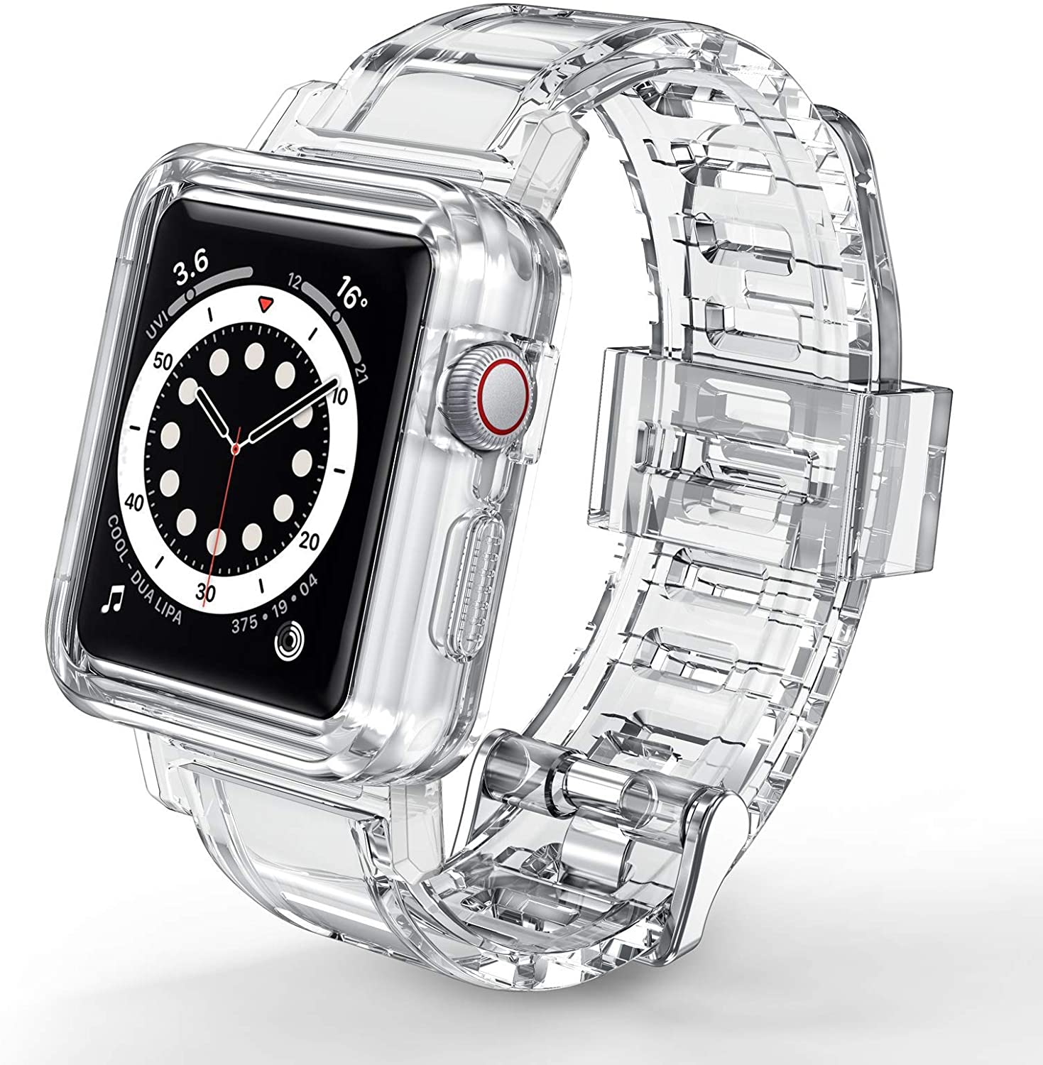 JAKPAK Compatible with Apple Watch Bands Case 42mm 44mm for Men Women, Crystal Clear Protect Sports Wristband Bumper Strap iWatch Series 5 4 3 2 1 42mm 44mm
