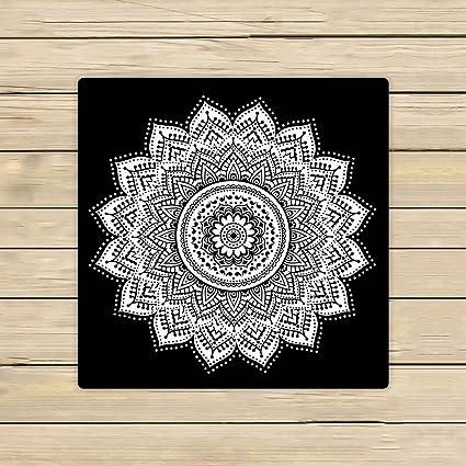 Toallas de baño personalizadas Mandala, toallas de baño de playa indias blancas y negras,