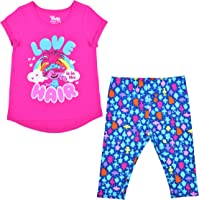 Universal Trolls Girl's 2-Pack Poppy Printed Graphic Tee Shirt and Leggings Set for Toddlers