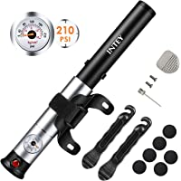 Intey Portable Bike Pump with Gauge 210 Psi High Pressure Mini Bike Frame Pump Fits Presta