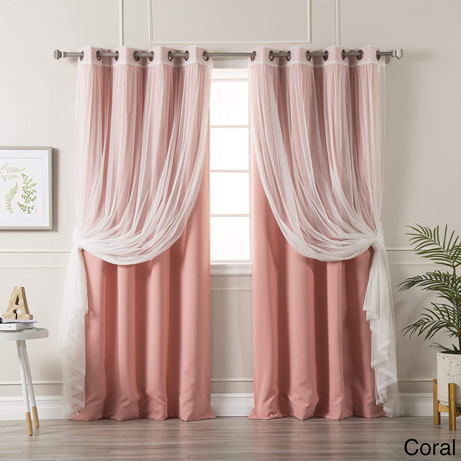 Aurora Home Mix and Match Blackout Tulle Lace Sheer 4 Piece Curtain Panel Set Coral 52 x 84 84 Inches