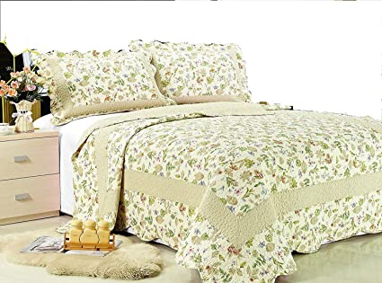 8980534b1f6 Amazon.com  ALL FOR YOU 3-Piece Reversible Bedspread Coverlet ...