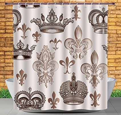 IPrint Soft Fabric Shower Curtain By, Fleur De Lis Decor Collection, Crowns  And Fleur