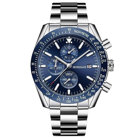 5971b2ee887f BERSIGAR Negocio de los Hombres Casual Cronógrafo Cuarzo Impermeable Reloj  de Pulsera  Amazon.es  Relojes