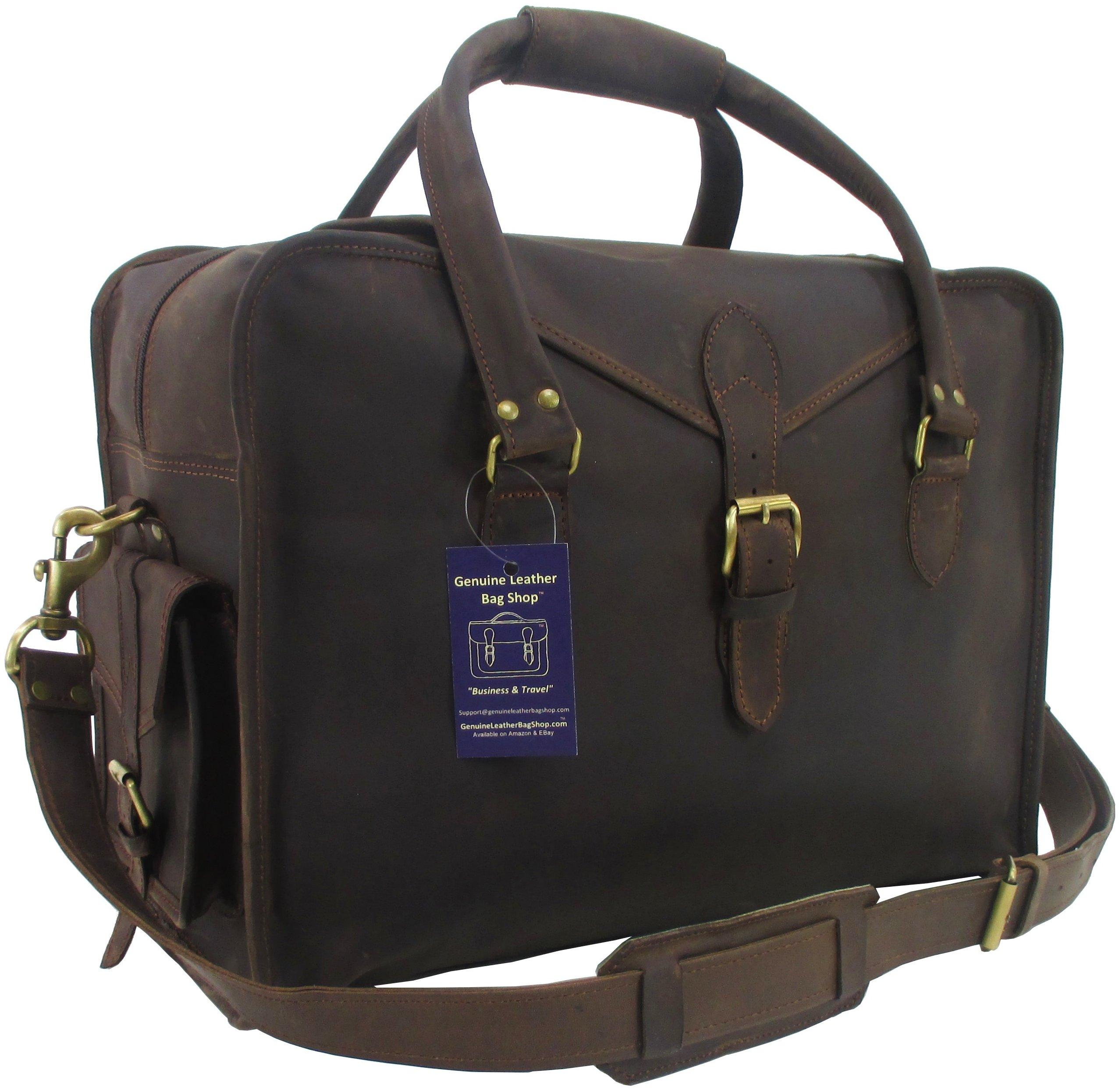 Genuine Leather Bag Shop 19'' Rustic Full Grain Weekender Carry On Suitcase Duffel