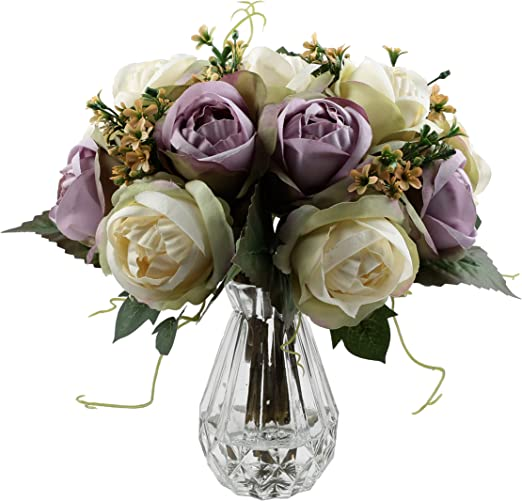 Antique White Ivory Rose Artificial Luxury Faux Silk Flowers Vintage Roses
