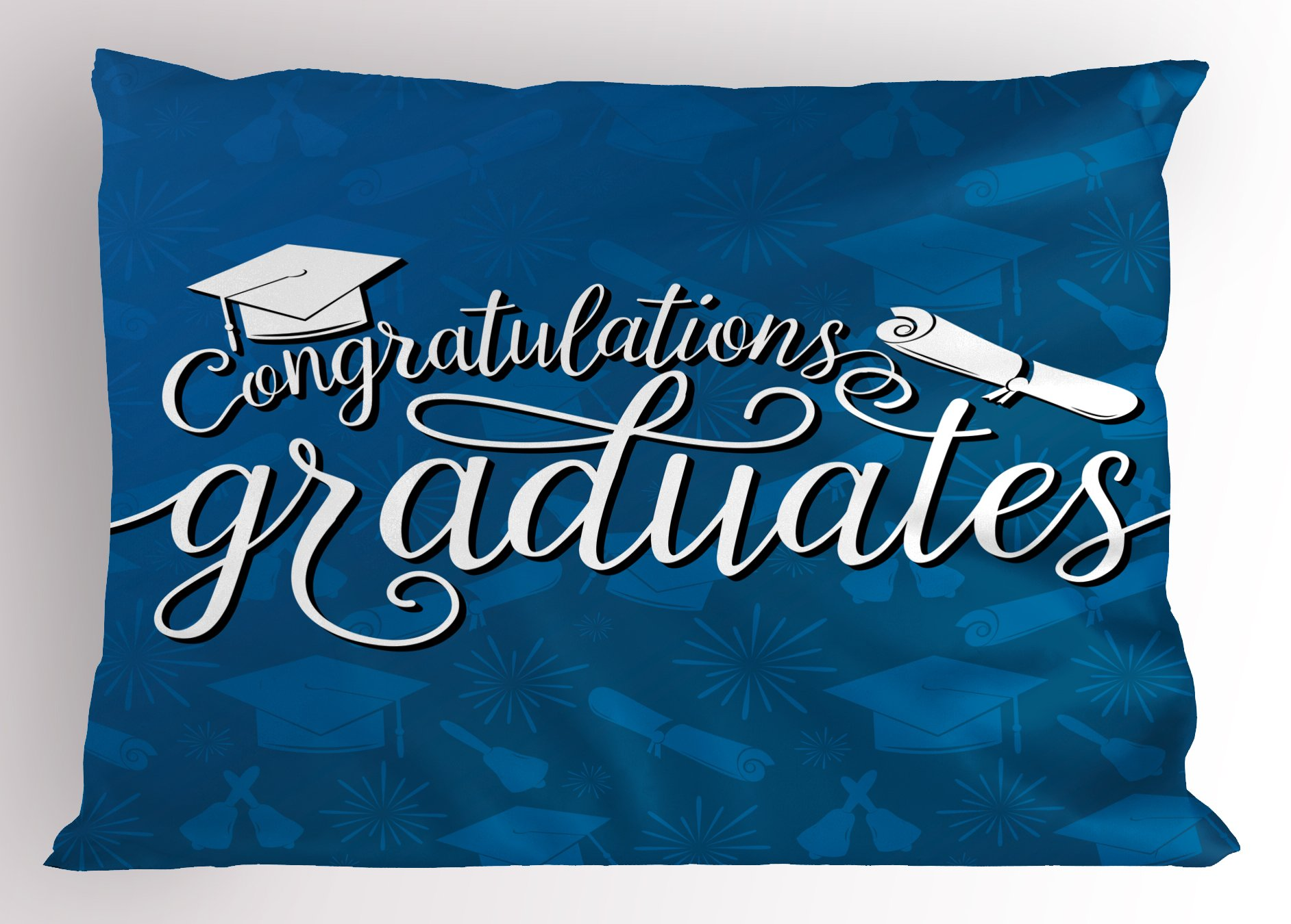 Lunarable Graduation Pillow Sham, College Celebration Ceremony Certificate Diploma Square Academic Cap Print, Decorative Standard King Size Printed Pillowcase, 36 X 20 Inches, Blue and White