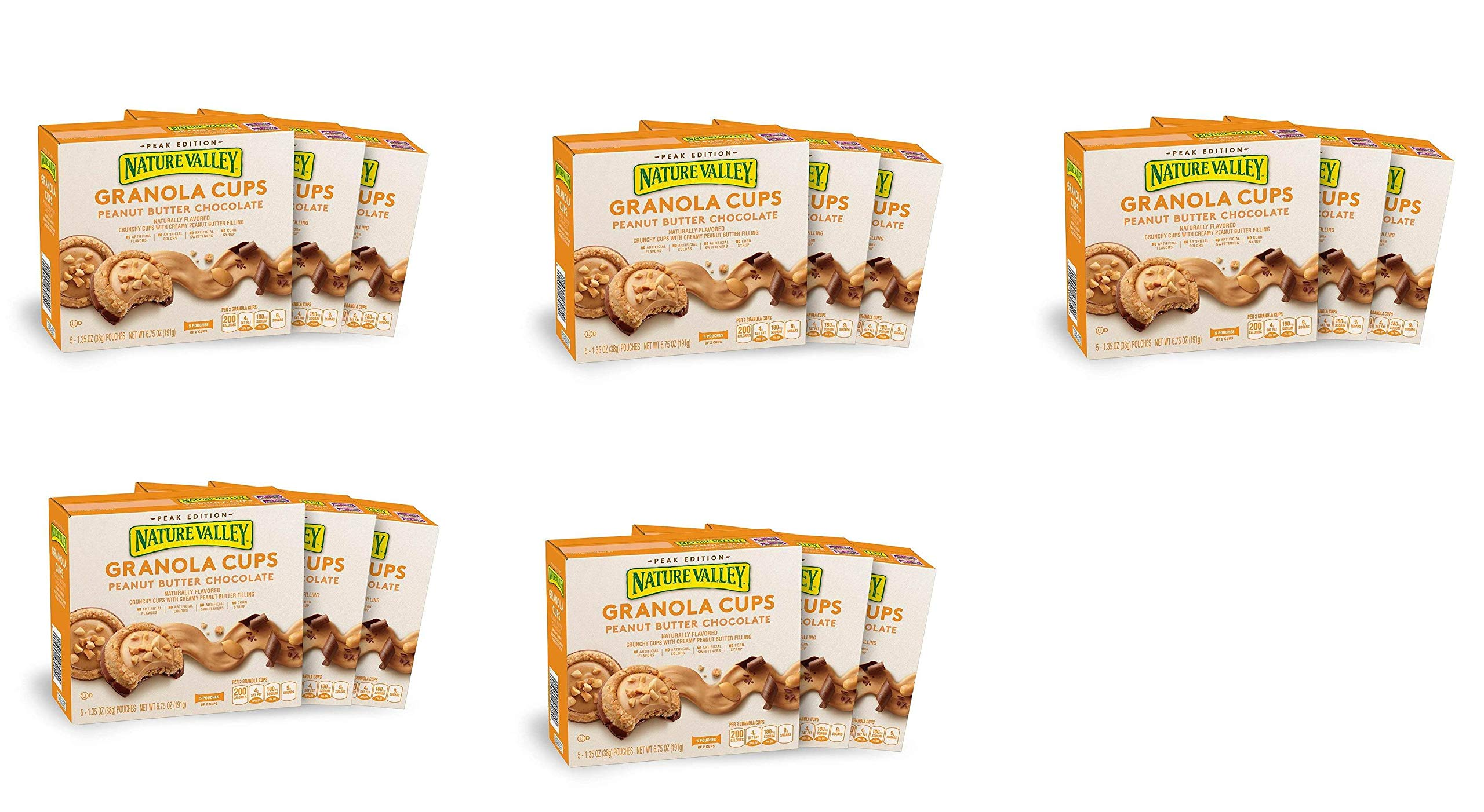 Nature Valley Peak Edition Granola Cups, Peanut Butter, 5 Pouches, 1.2 oz, (15 Boxes)