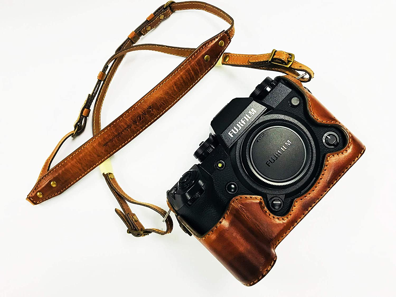 JP KAZA Fujifilm XH1 レザーハーフケース + ストラップ 富士フイルムX-H1用カメラケース高級 イタリアンレザー 本革 バッテリー交換可能 B07N2H9LFP