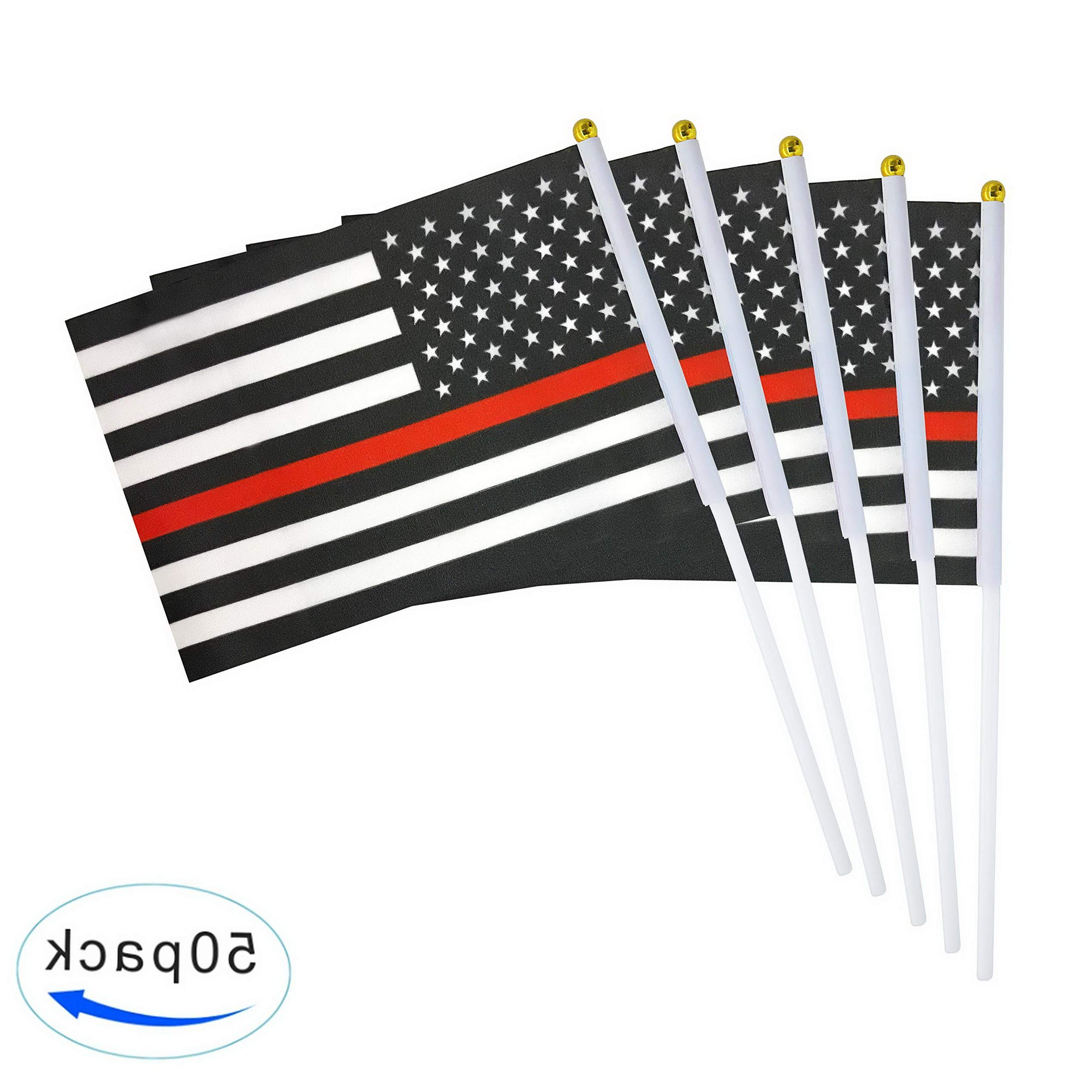 Werrox TSMD Thin Red Line American Firefighter Flag 50 Pack Small Mini Hand Held Polyester Flags On Stick,Firefighter Theme Party Event Decorations | Model FLG - 1338 | 8.2'' x 5.5'',11.8'' by Werrox