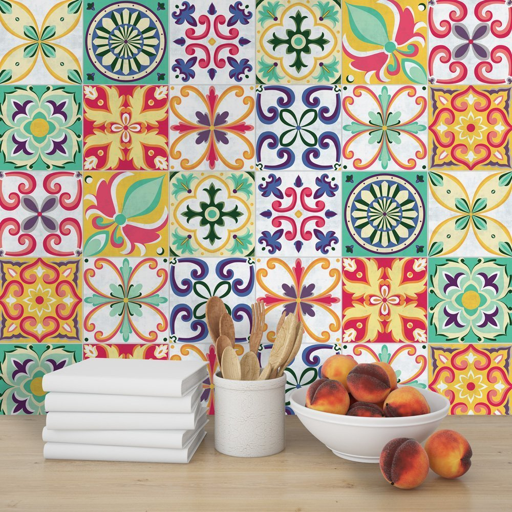 HomeArtDecor | Decorative Tiles | Vintage Italian Tiles Stickers | Just Peel and Stick | Suitable for Kitchen and Bathroom | Waterproof | Floor and Wall Tiles | 24 Individual Tiles | Home Décor