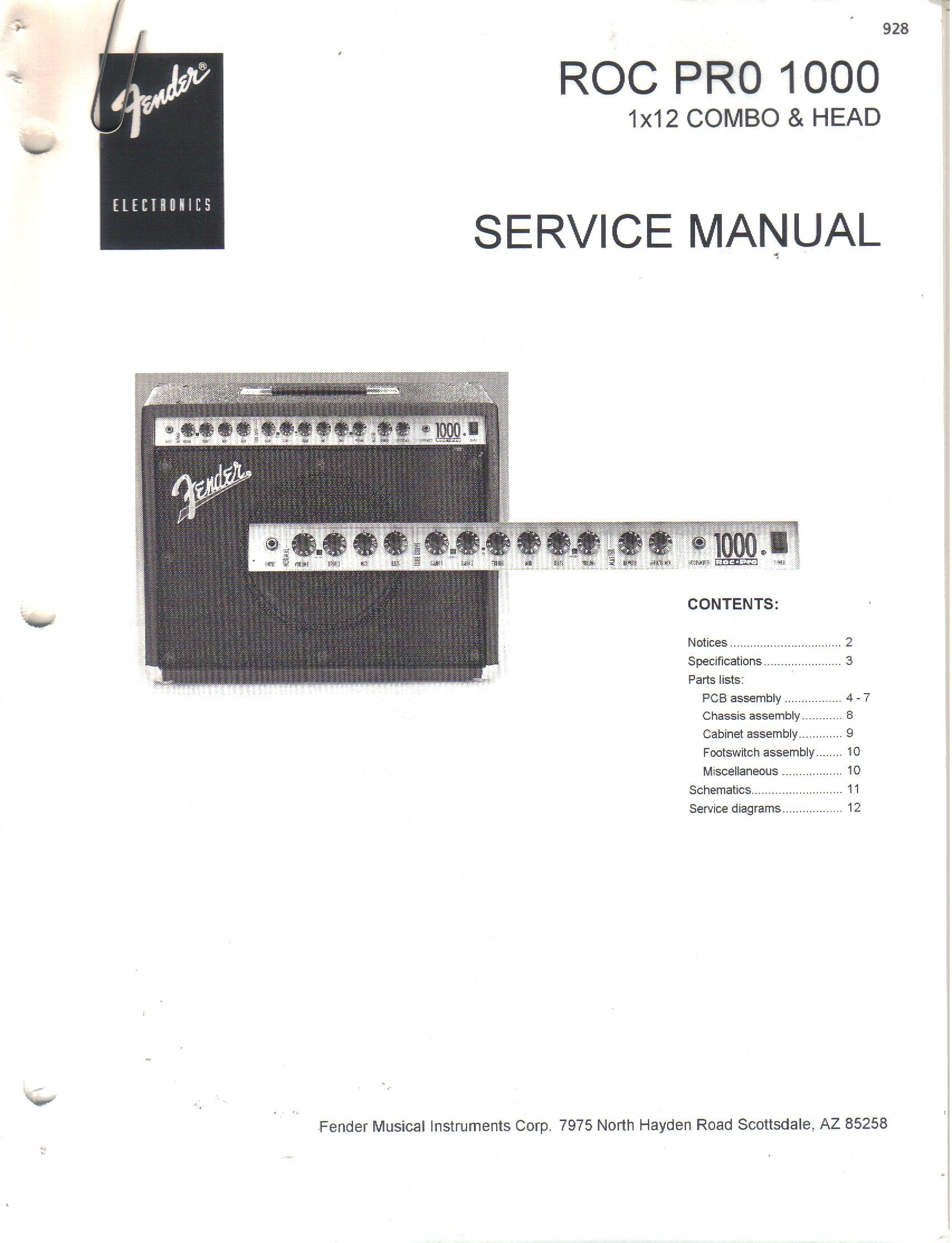fender roc pro 1000 1x12 combo head amp amplifier service manual rh amazon com Wiring- Diagram Fender Performer