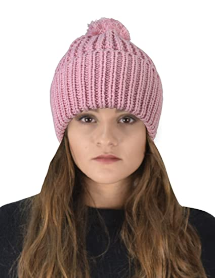 9578c349832 Peach Couture Classic Womens Warm Hand Knit Pom Thick Winter Ski Snowboard  Hat (Baby Pink