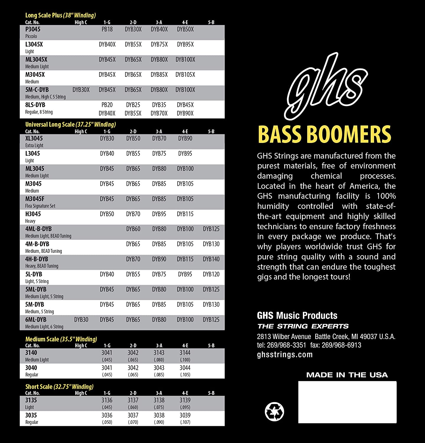 Long Scale Medium GHS Strings 5M-DYB 5-String Bass Boomers Nickel-Plated Electric Bass Strings .045-.130
