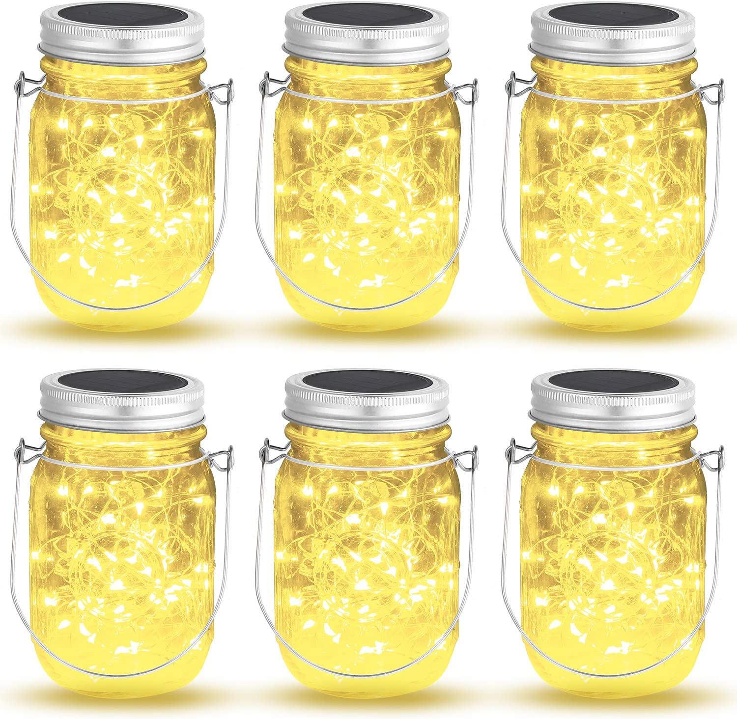 OxyLED 6 Pack Mason Jar Solar Lights, 40 LED Fairy Lights Solar Powered with Jars and Hangers, Waterproof Hanging Solar Lights Outdoor, Decorative Solar Lanterns for Home Garden Patio Party Wedding