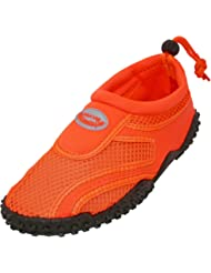 Aqua Socks womens Water Shoe, Neon Orange, 8