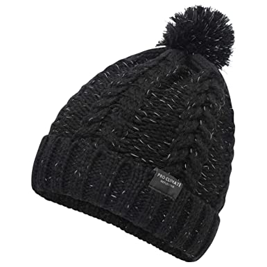 9bd9b9466bb Pro Climate Mens Reflective Cable Twist Knitted Beanie Hat (Black ...