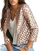 HaoDuoYi Womens Basic Sparkly Plaid Sequin Short Blazer Biker Jacket Outwear