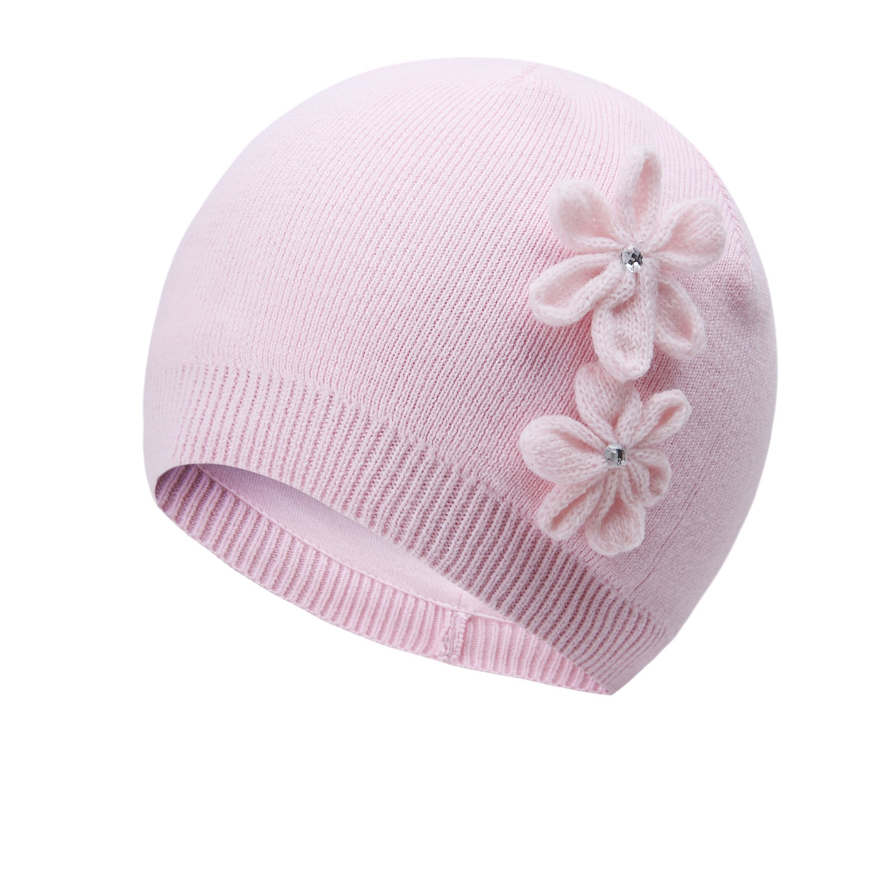 vivobiniya Toddler Girl's Winter Knitted Cap Flower Hat Pink and White 0-6T (1-2Years Old(Head Circumference 17.3in-18.8in), Pink