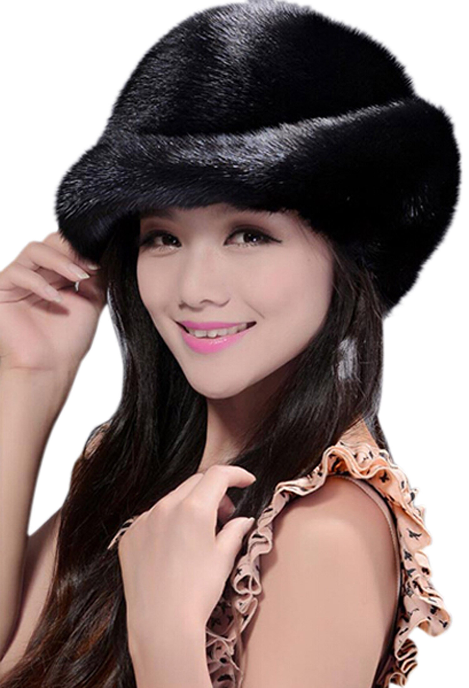 Easting Hot Fashion Women Winter Genuine Mink Fur Hats (Black)