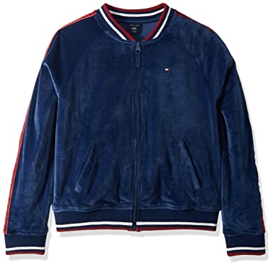 61baa15ca Amazon.com  Tommy Hilfiger Girls  Velour Track Jacket  Clothing