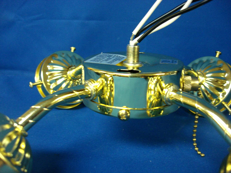 Ceiling fan light kit 4 four arm polished brass pull chain fixture ceiling fan light kit 4 four arm polished brass pull chain fixture pb lighting amazon aloadofball Choice Image