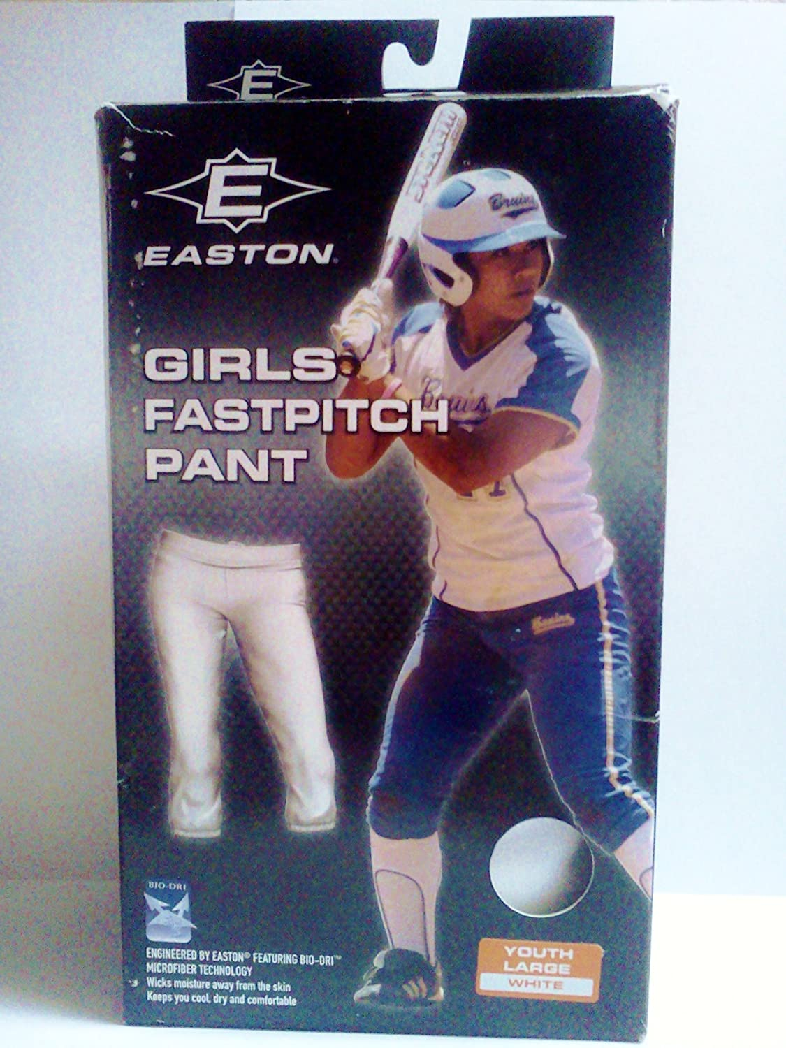 Large (Size 14-16) White Easton Youth Girls Fastpitch Pant ~ Low-Rise Elastic Waistband Softball Uniform Pants 1005977