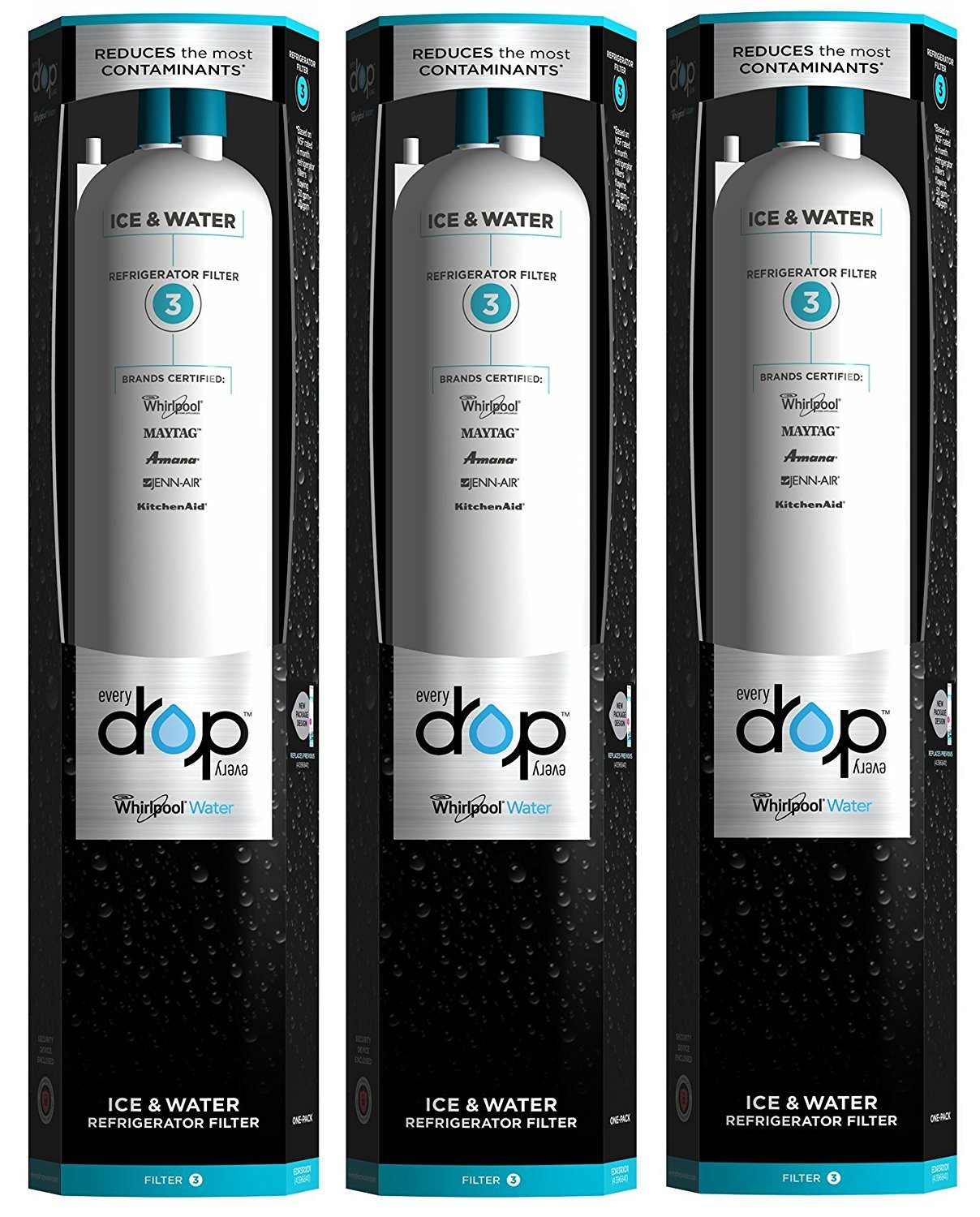 (3 Pack)Refrigerator Water Filter Replacement Whirlpool Fliter 3 EDR3RXD1 For EveryDrop 469930 4396841, 4396710 Refrigerator Water Filter