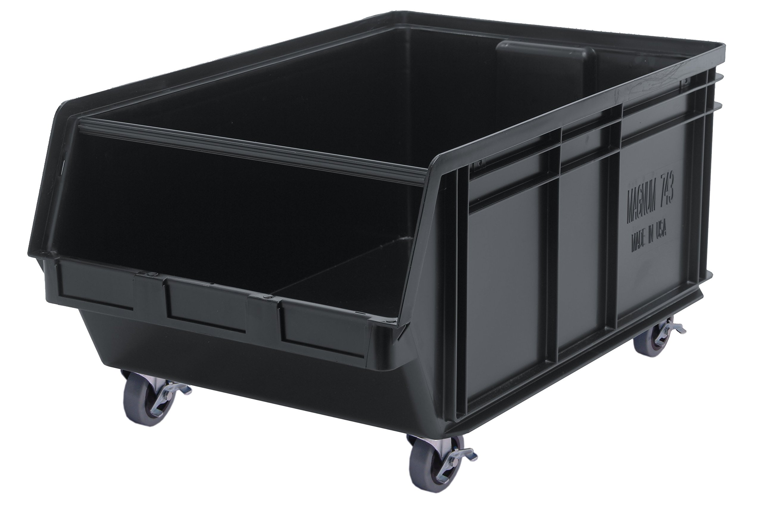 Quantum Storage Systems QMS843MOBBK Heavy Duty Mobile Magnum Bin with Spread Bar, 29'' x 18-3/8'' x 14-7/8'', Black by Quantum Storage Systems