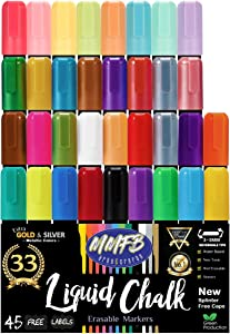 5mm Medium Tip Erasable Liquid Chalk Markers (33 Pens Size M) w/ 45 Chalkboard Labels, Wet Erase For Nonporous Surfaces - All Bright Neon, Metallic & Classic Colors, Reversible Bullet Chisel Tips Nibs