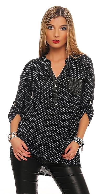 152 MississhopDamen Gepunktete Bluse Hemd mit Muster Langarm Shirt Top  Longshirt mit Glitzer Pailletten Details Oliv  Amazon.de  Bekleidung dce90d0a64