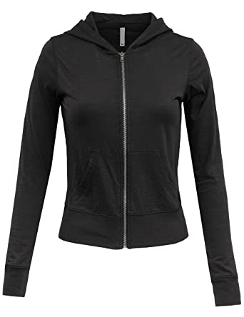 BEKDO Womens Super Lightweight Solid Slub Cotton Zip Up Hoodie ...