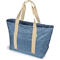 """X-Large Tote Bag For Women or Men. Premium 22"""" Carry-All Bag With Foldaway Zipper Top – For Work, Gym, Pool, Teachers…"""