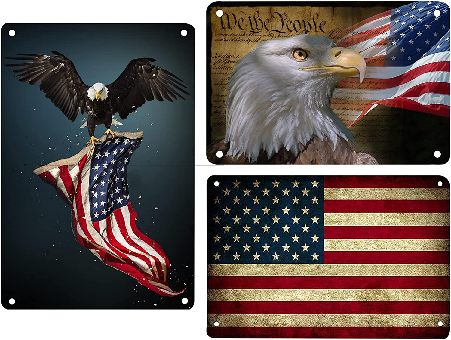 American Flag Metal Tin Sign US Pledge of Allegiance Wall Decor Metal Retro Signs Bar Signs Decor for Home Cafe Bar Pub 8X12 in - 3PCS