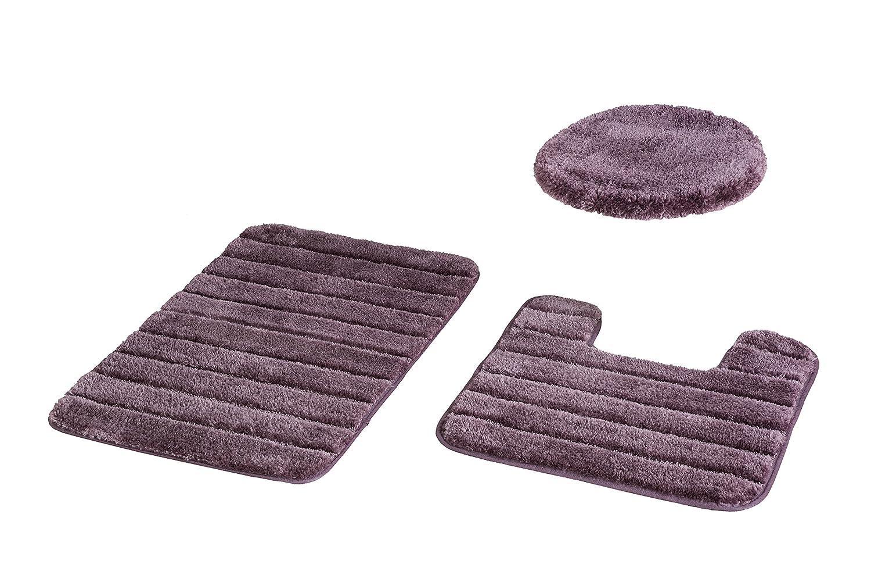 BALTIC LINEN Luxury Nylon 3 Piece Bath Rug Set, Plum 0353262800