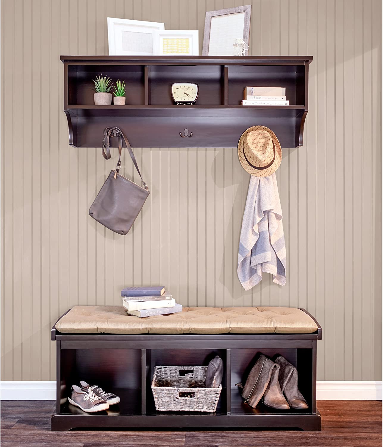 Epoch Design Brookwood Bench and Wall Unit, Coffee