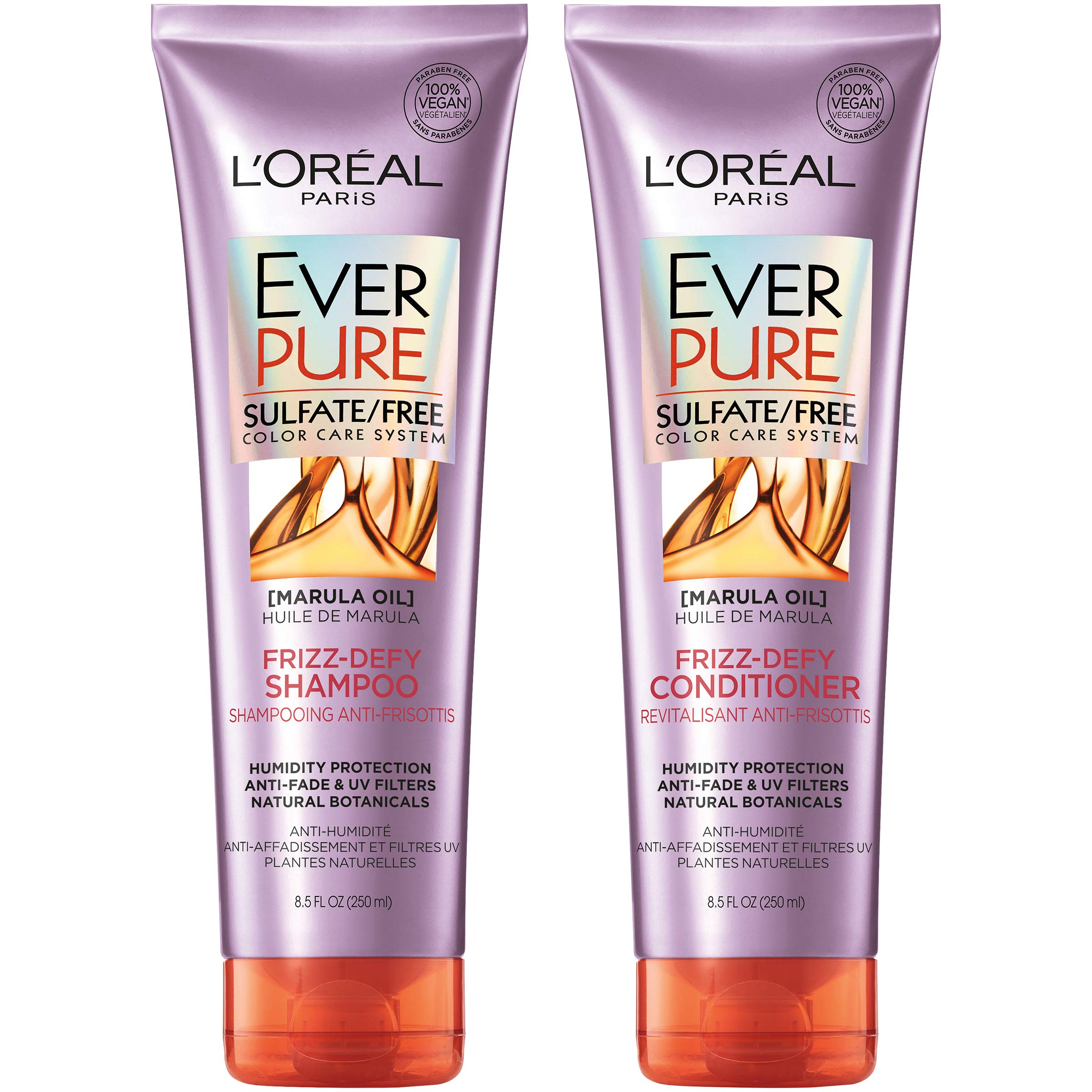 L'Oreal Paris Hair Care EverPure Frizz Defy Sulfate Free Shampoo & Conditioner Kit for Color-Treated Hair, Humidity + Frizz Control, For Frizzy Hair, (8.5 fl. oz. each) by L'Oreal Paris