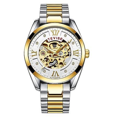ZHANGZZ Schöne TEVISE Uhr, TEVISE2018 Mechanische Uhr für Herren mit hohler, automatischer Golduhr