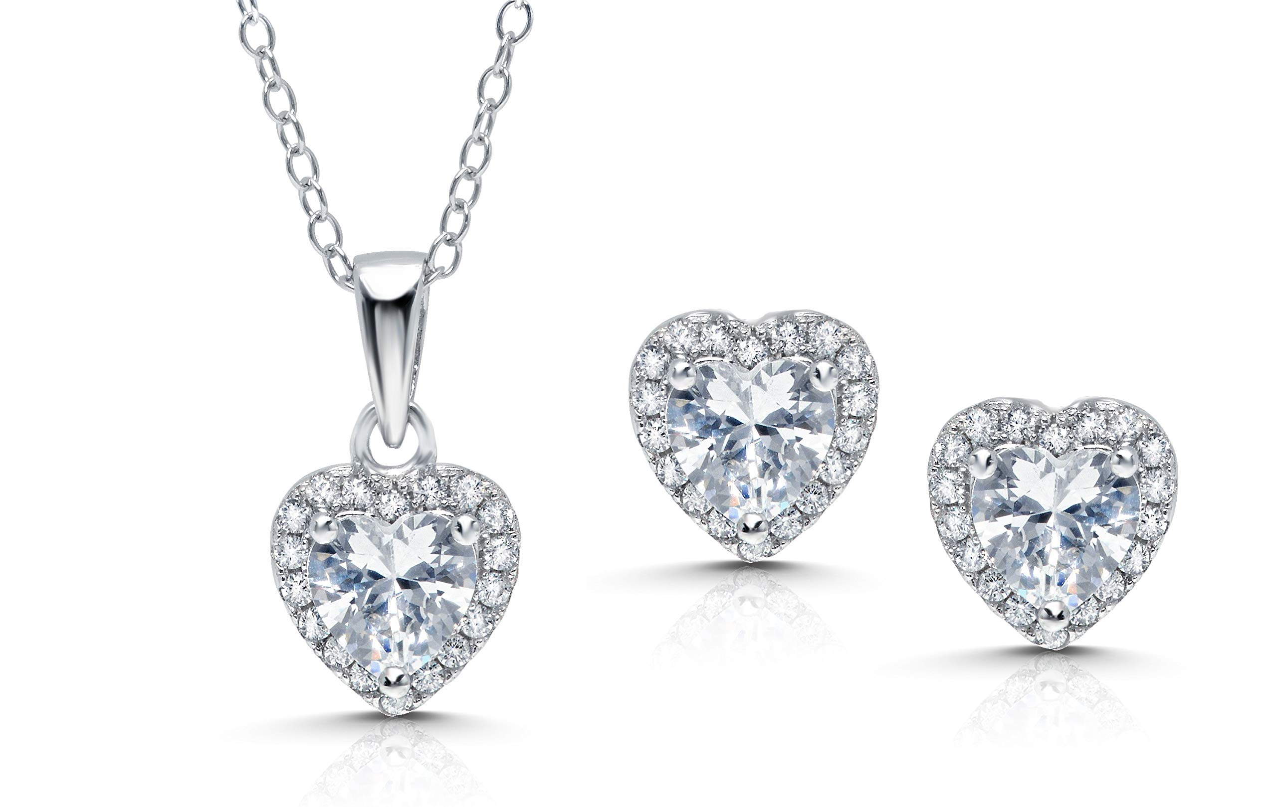 Sterling Silver Cubic Zirconia Heart Earrings and Pendant Set