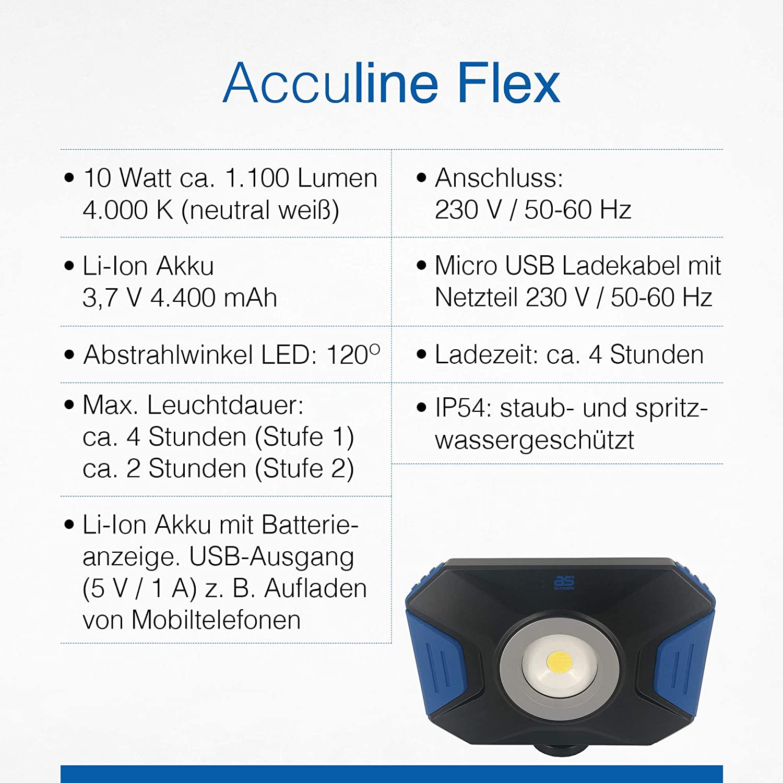as-Schwabe 46360 Acculine Flex Projecteur de chantier professionnel 10 W pour /éclairage ext/érieur avec port USB Noir//bleu
