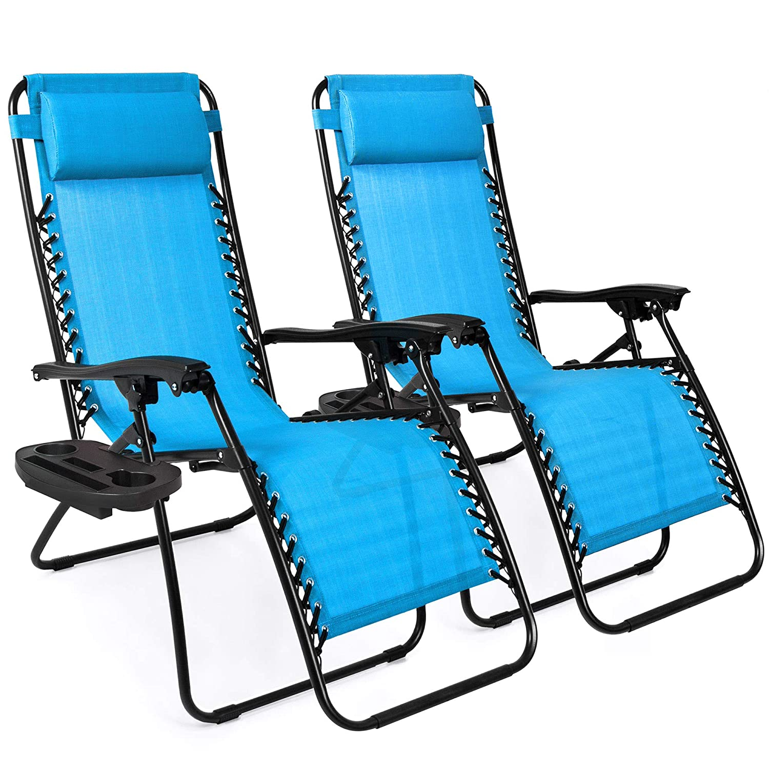 Set of 2 Adjustable Zero Gravity Lounge Chair Recliners for Patio