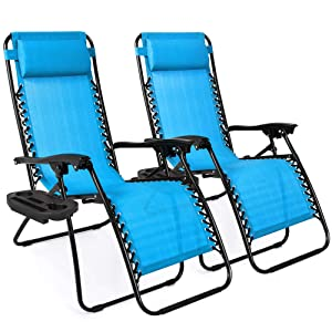 Best Choice Products Set of 2 Adjustable Zero Gravity Lounge Chair Recliners for Patio, Pool w/Cup Holders - Aqua Blue