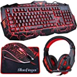 BlueFinger Backlit Gaming Keyboard Mouse Combo with LED Gaming Headset Over-Ear Headphone 40mm Speaker Driver + Gaming Mouse Mat