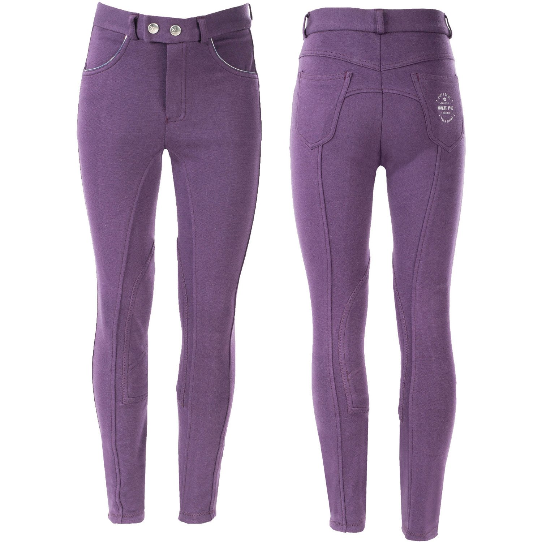 Horze子供& Ponies Jen子供の膝パッチBreeches Mysterioso 紫の X-Large
