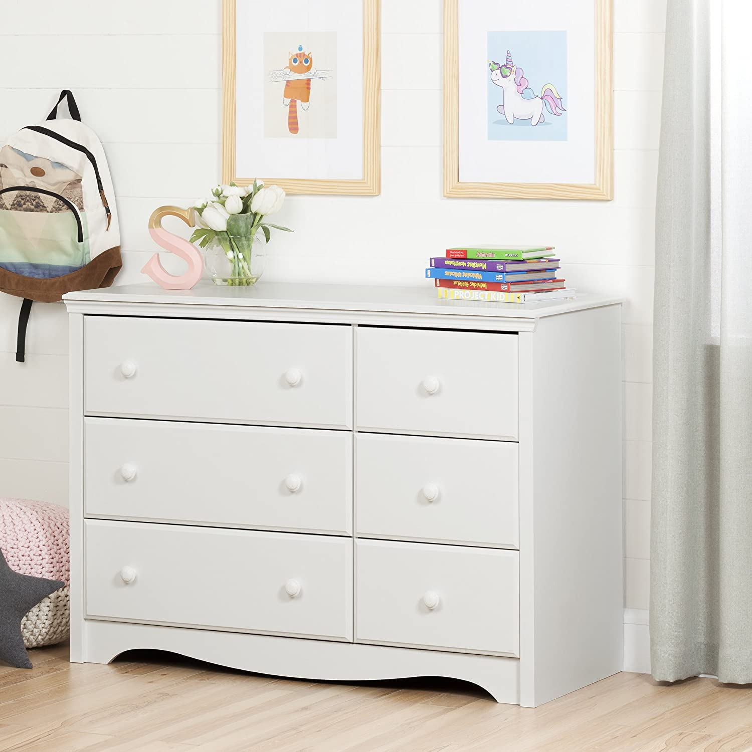 amazoncom south shore furniture angel changing table with 6 drawers pure white baby
